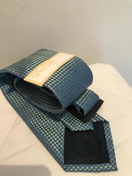 Corbata Michael Kors Original Tornasol Verde-azul Claro