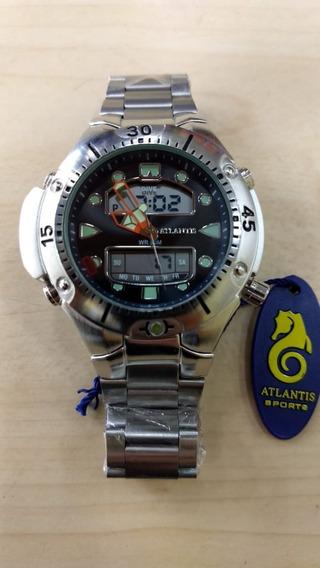 Relógio Atlantis Prata A D Masculino Original Estilo Citz