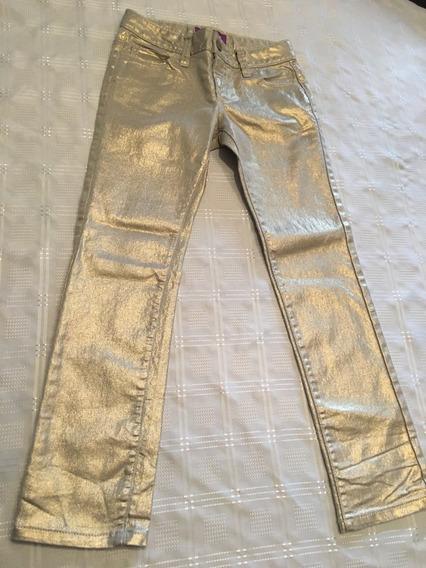 Pantalon Jean Dorado Niña Recto Talle 7 Old Navy Único!