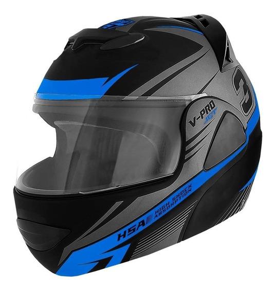 Capacete para moto escamoteável Pro Tork V-Pro Jet 3 cinza/azul L