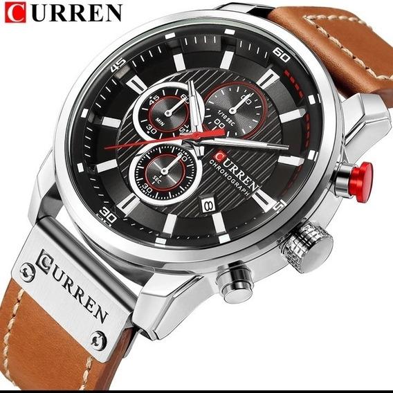 Relógio Masculino Curren Barato Pronta Entrega Couro E.114