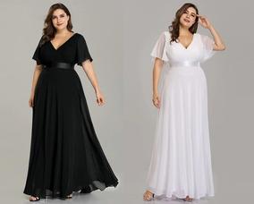 Vestido Fiesta Largo Negro Blanco Grande 16 18 20 22 Ep 16