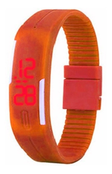Relógio Led Digital Laranja - Pulseira Ajustável Unissex