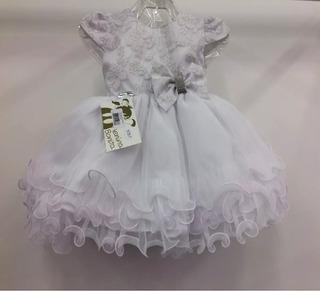 Vestido Bebê Branco Batizado + Faixa De Cabelo