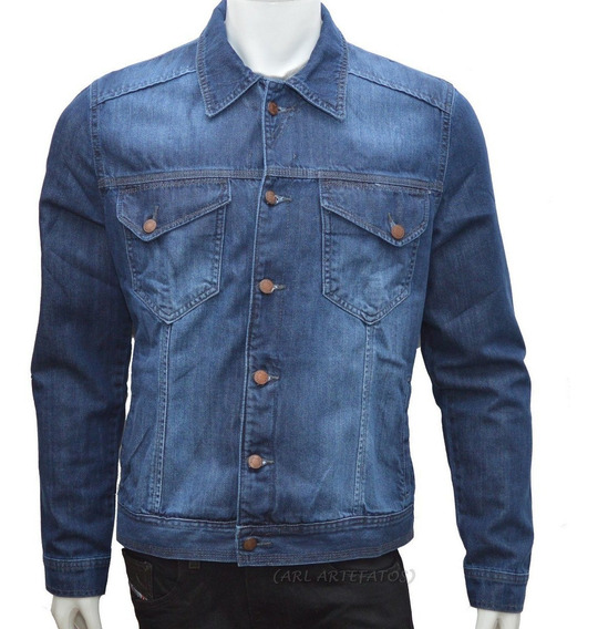 Jaqueta Jeans Premium Sarja Masculina Casaco Slim 6 Bolsos