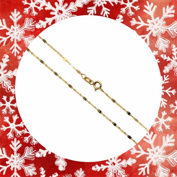 Colar Gargantilha Plaquinha Ouro Amarelo 18k 45 Cm Feminino