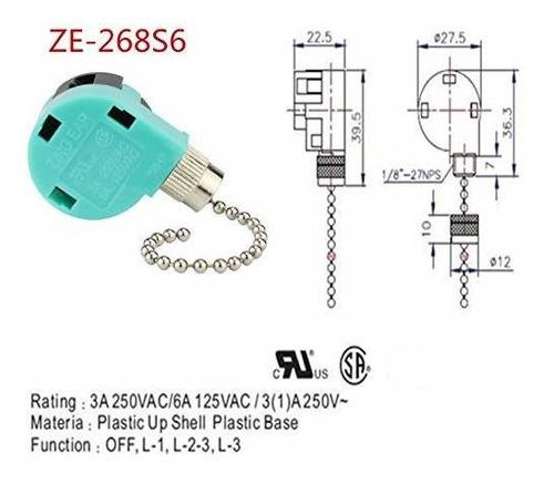 Ventilador De Techo Interruptor 3 Velocidad 4 Alambre Zing O