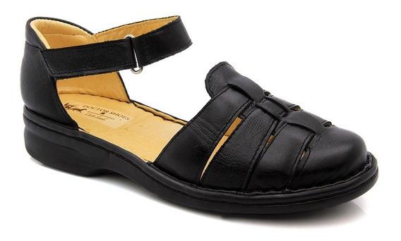 Sandália Feminina 362 Em Couro Legitimo Preto Doctor Shoes