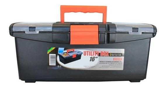 Caixa De Ferramentas Com Organizador Utilily Box 16 Preta