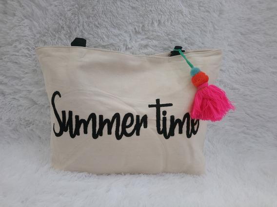 Bolsa De Praia Feminina Summer Time Várias Cores C/ Chaveiro