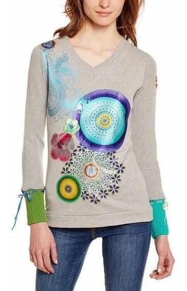 - Sweater Polera Desigual M Gris Círculos Envío Gratis