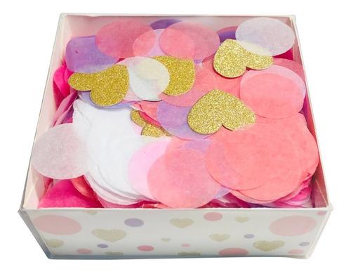 Imagen 1 de 2 de Confetti Rosa Combinacion Dorado Corazones En Cajita Pvc