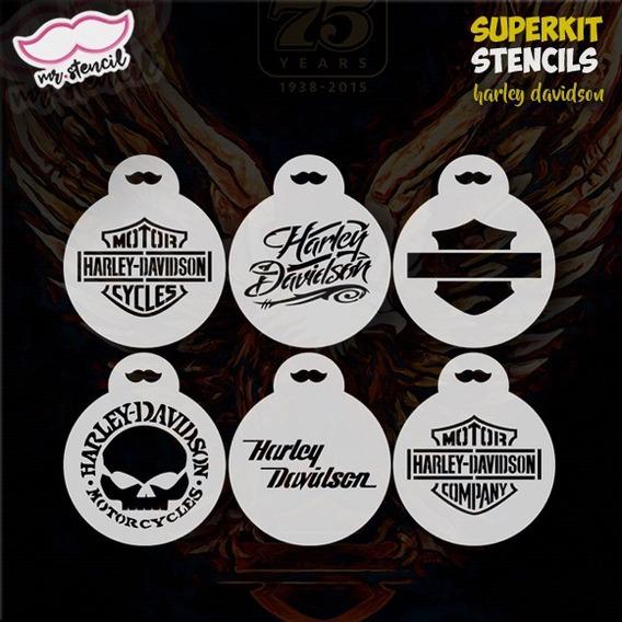 Stencil Harley Davidson - Biscoitos Cafés Pintura Facial