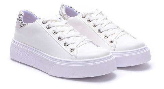 Zapatillas Mujer Sneakers Blancas Negra Plataforma Heben