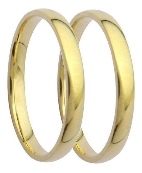 Par De Alianças 6 Grs 3mm Ouro 18k 750 Anatômicas Casament