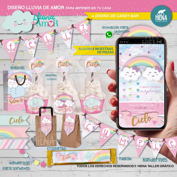 Kit Imprimible Lluvia De Amor Candy Bar/nubes Arcoiris Cielo