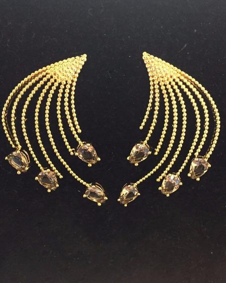 Brincos Feminino Banhado A Ouro Com Pedras De Zirconia