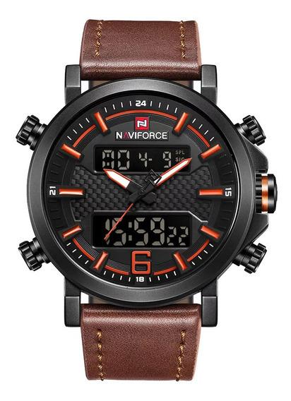Relógio Naviforce Masculino Militar Esportivo Pulseira Couro