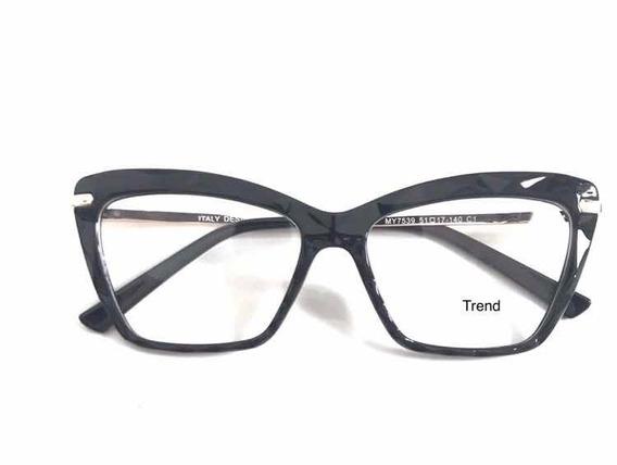 Óculos P/grau Femenino Armaçao Retro Diamante Marca :trend