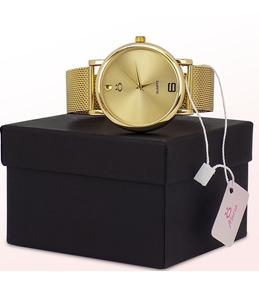 Kit Relógio Feminino Dourado Rosê + Caixa Original Barato