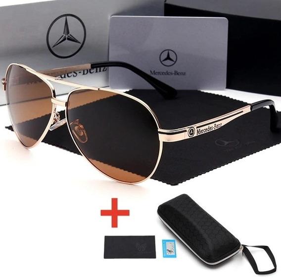 Óculos De Sol Mercedes-benz Metal Polarizado Uv400 Luxo -
