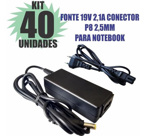 Kit 40 Peças Fonte Carregador 19v 2.1a Notebook