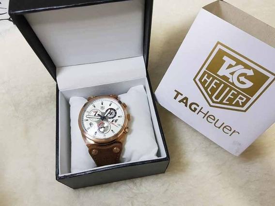 Relogio Tg F1 - Couro - Cronografo-datador-mostrador Branco