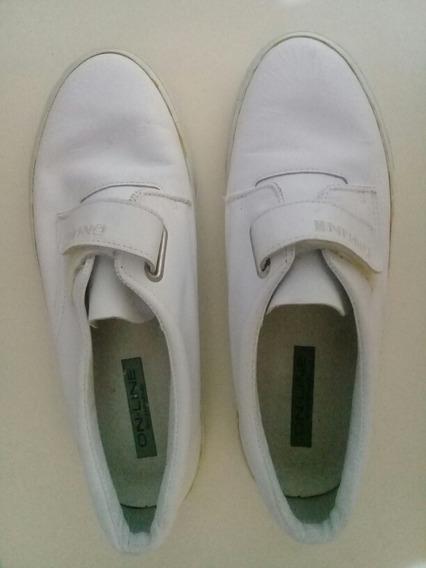 Tenis Branco Em Couro -feminino - Azaléa - Semi Novo -tam.38