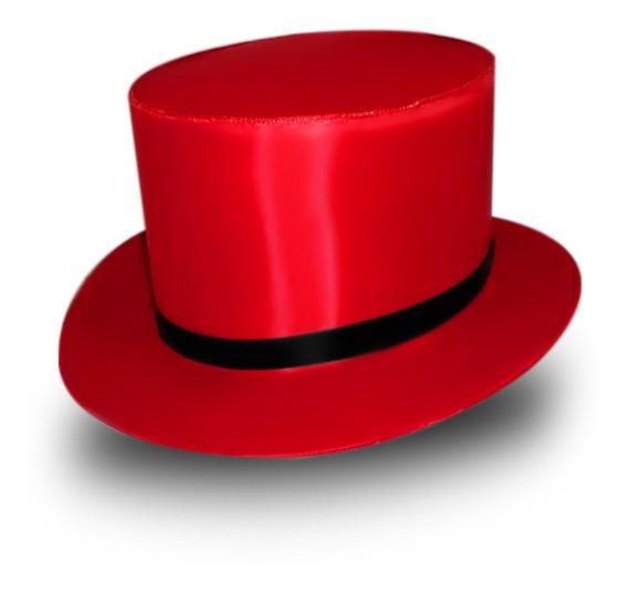 Kit Chapéu Cartola Com 4 Vermelhas E 1 Preta