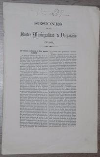 Valparaiso Sesiones Municipalidad 1864