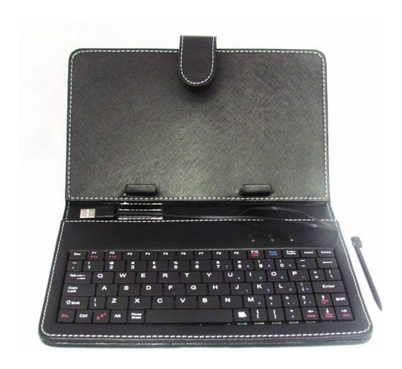 Teclado P/ Tablet 8 Preta Branco + Adaptador Usb / Mini Usb