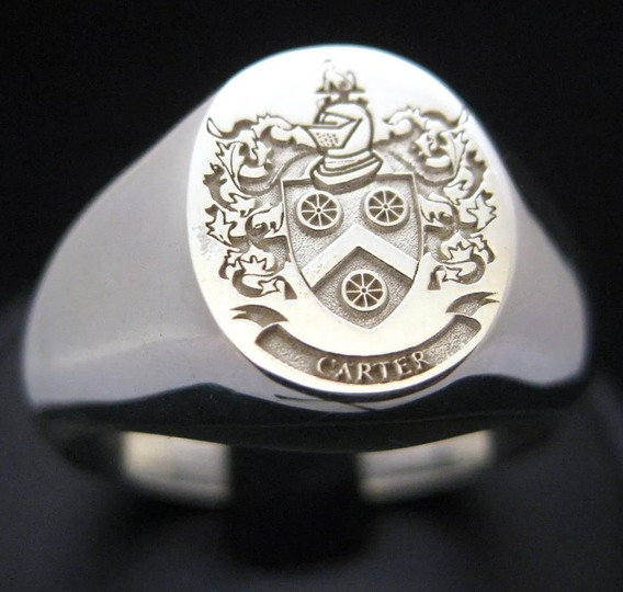 Anel Prata 950 Customizado Brasão Ou Simbolos A Sua Escolha