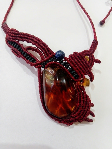 Collar De Ámbar Lapislázuli Macrame