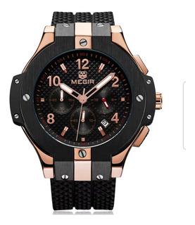Reloj Megir Original Negro Bronce 52 Mm Mec. Alta Calidad
