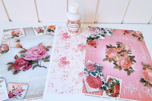 Decoupage Laminas Set Rosas Romanticas Laura Craft