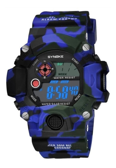 Relógio Esportivo Militar Anti Shock Camuflado Synoke 9448