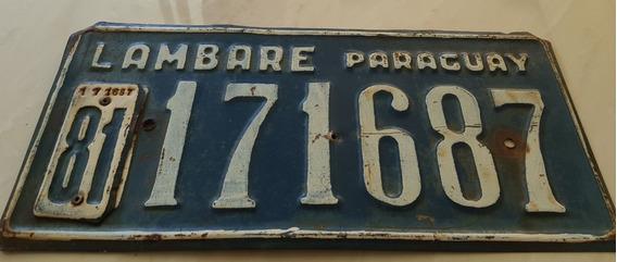 Placa Carro Antiga Ferro Paraguai Lambaré 171687
