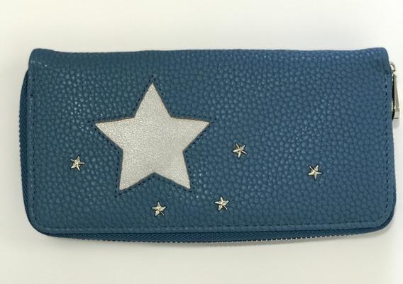 Billetera Zipper Puller Ecocuero Pu Con Estrellas