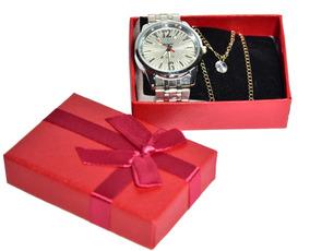 Relógios + Correntes Folheado Em 3 Camadas De Ouro 18k
