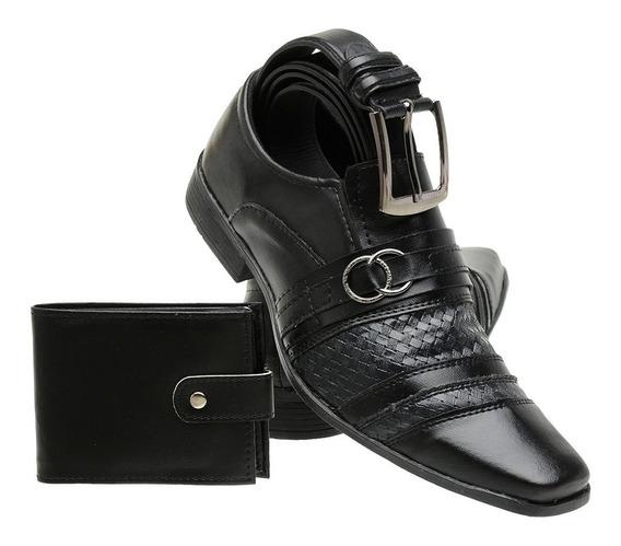 Sapato Masculino Social Preto Fosco - 6012 Carteira+cinto