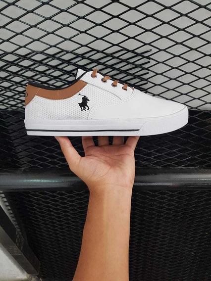 Zapatillas Importadas Polo Blancas Logo Negro N 39.