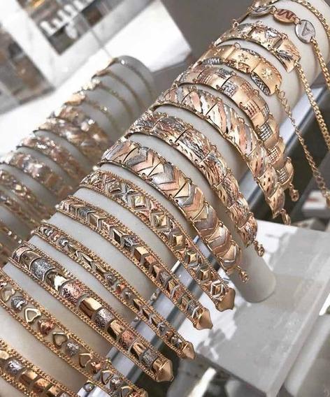 Pulseira Semijoia Escrava Diamantada 3 Cores Do Ouro