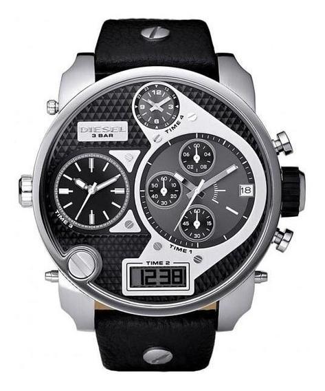 Relógio Dz-7125 Big Daddy 4 Times Pulseira Em Couro
