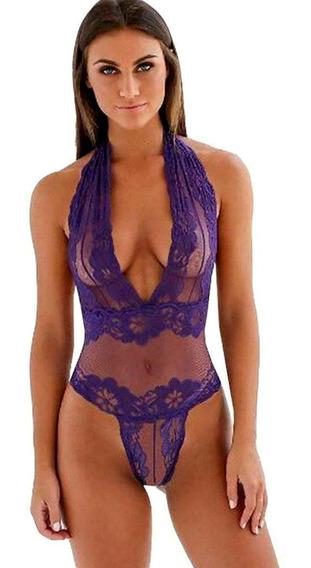 Macaquinho Cavado Em Renda Tranparente Bodysuit Collant Sedução Erotica P - Pp #47