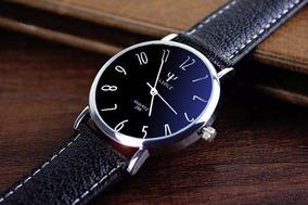 Relógio Masculino Prata Inoxidável Yazole Pulseira De Couro