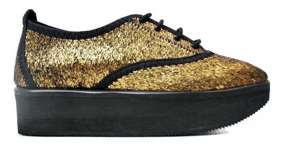 Zapatos Diez Indiecitos Con Plataforma 28 A 38 Dorado Fiesta