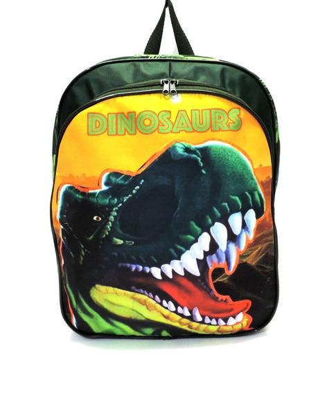 Mochila Infantil Escolar Dinossauro Costas Tam G Verde F5