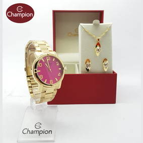 Relógio Champion Original Feminino Cn25181j Dourado + Brinde