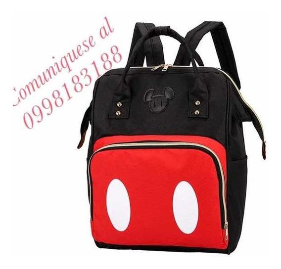 Mochila Pañalera Con Diseños De Mickey Y Minnie