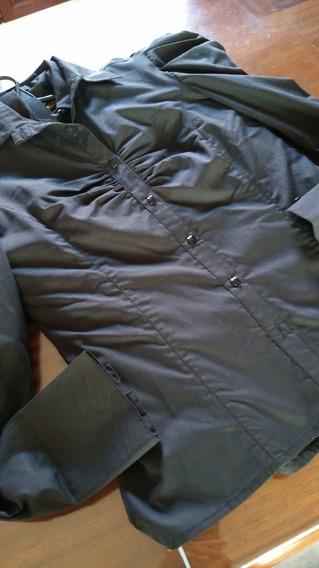 Camisa Cenizas/eulalia Negra Con Frunce T S/m